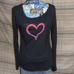 Black Ladies Pink/Red Heart LS T-Shirt